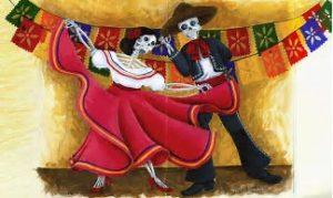 Dia de los Muertos costume and decorations