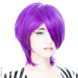 Wigs Boy Cut Long Purple Grape